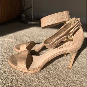 NINE WEST Nude Stiletto Leather Strappy Heels